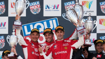 Toni Vilander, Craig Lowndes and Jamie Whincup drivers of the #88 Maranello Motorsport Ferrari celebrate after winning the 2017 Bathurst 12 hour.