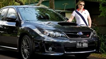Peta Appleroth and her Subaru WRX STi.