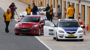From Bathurst-winning RX-7 and potent RX-8 SP turbo to the fun 2 rally car and surprisingly tweaked 3 MPS, Mazda unleashed the media on its range of motorsport heroes at Wakefield Park race track.