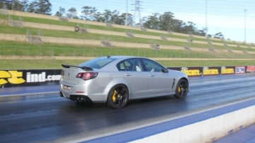 Pacy: The HSV GTS raced down the dragstrip quicker than the final Falcon.