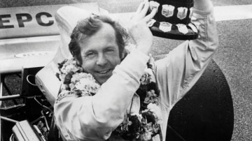 Gold star: Frank Matich after winning the Victorian heat of the Gold Star Australian Driver's Championship at Sandown in 1972.