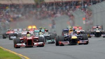 JOE ARMAO The Age 17th March 2013.  Australian F1 Grand Prix 2013. Albert Park Lake.Start of the race. A shocking start for Mark Webber. Photo: Joe Armao