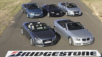 Contenders: (from top left) Ford Focus CC, Mazda MX-5, Volkswagen Eos 2.0 TDI, Audi TT Roadster 2.0 TFSI, BMW 335i Convertible