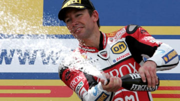 Troy Bayliss celebrates his win at Phillip Island in March this year.