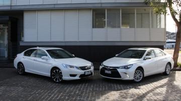 The Honda Accord Sport Hybrid and Toyota Camry Atara SL Hybrid go head-to-head
