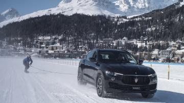 The Maserati Levante S towed Jamie Barrow across the frozen lake at St Moritz.