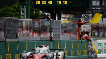 Race leader Kazuki Nakajima of Toyota Gazoo Racing suffers engine problems with less than 3 minutes to run of the Le Mans 24 Hour race.