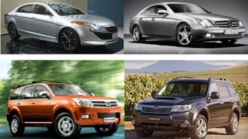 Top, left to right: Great Wall CHC011-codenamed sport sedan concept v Mercedes-Benz CLS.  Bottom, left to right: Great Wall Hover v Subaru Forester