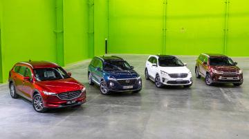 Mazda CX-8, Hyundai Santa Fe, Kia Sorento and Toyota Kluger.