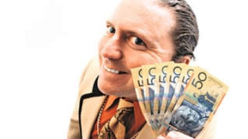 Journalist David Morley in the role of used-car salesman. Pic Neil Newitt.