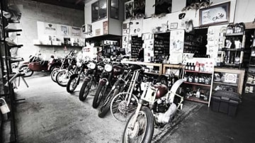 The British Motocycle showroom in Wooloongaba, where most of the motorcycle pre-date the 1980's.