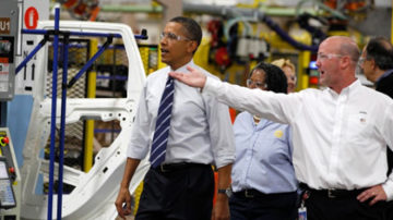 U.S President Barack Obama tours a Chrysler auto plant in Detroit.