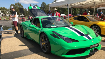 A rate green Ferrari 458 Speciale at AutoItalia at Old Parliament House in Canberra.