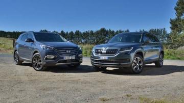 2017 Hyundai Santa Fe Active X v Skoda Kodiaq 132TSI Comparison Review | Seven-Seat SUV Showdown