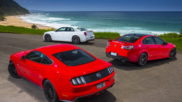 The Ford Mustang arrives in Oz to take on the Chrysler 300 SRT and Holden Commodore SS-V.