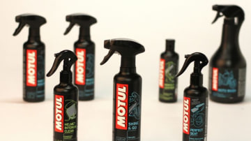 Shiny solutions: Motul MC Care line for everything from helmets to seats.