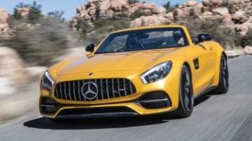 Mercedes-AMG GT-C Roadster Fahtveranstaltung Phoenix 2017 AMG solarbeam; Leder Exclusiv Nappa / Microfaser DINAMICA schwarz / graue Ziern?hte. GT C Roadster Kraftstoffverbrauch kombiniert: 11,4 l/100 km CO2-Emissionen kombiniert: 259 g/km Fuel consumption