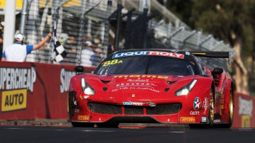 Toni Vilander, Craig Lowndes and Jamie Whincup drive the #88 Maranello Motorsport Ferrari during the 2017 Bathurst 12 hour race at Mount Panorama on February 5, 2017 in Bathurst, Australia.