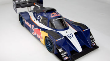 New Zealand-born rally racer, drifter and stunt driver Rhys Millen's Red Bull sponsored Hyundai PM580.