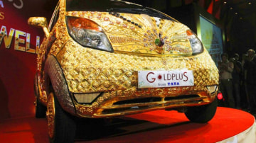 The gold and jewel-encrusted Tata Nano, the Goldplus. Photo: Reuters