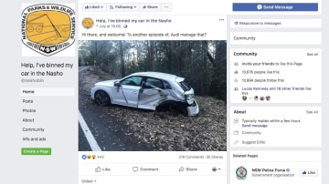 'Help, I've binned my car in the Nasho' has attracted attention online.