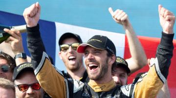 Jean-Eric Vergne celebrates winning the Formula E title.