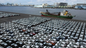 Cars prepared to be exported