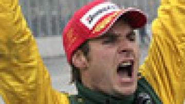Aussie Vineyards driver Will Power of Australia celebrates after winning the Grand Prix of Toronto in Toronto, July 8, 2007. Picture: Reuters