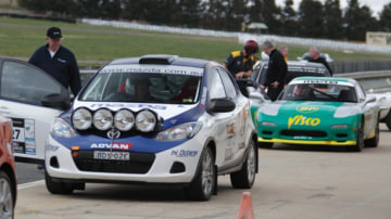 It may look like a thoroughbred rally car, but the Mazda2 rally machine is essentially a roadgoing hatchback with a roll cage and some of the biggest spotlights you'll ever see.