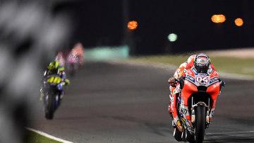 Ducati?s Andrea Dovizioso edged out the Honda of Marc Marquez in Qatar.