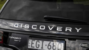 Drive Car of the Year Best Medium Luxury SUV 2021 finalist Land Rover Discovery Sport rear label
