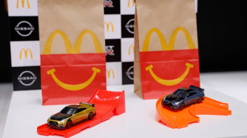 Miniature 2022 Nissan GT-R Nismo toy in McDonald's Japan Happy Set