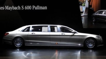 The giant Mercedes-Maybach S600 Pullman on display at the 2015 Geneva motor show.