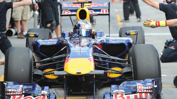 Sebastian Vettel of Red Bull in his car during the first practice session.