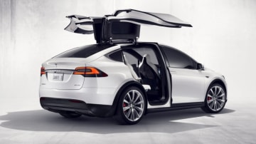The Tesla Model X features 'Falcon Wing' doors.