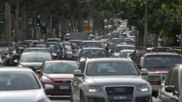 Traffic snarls in Alexandra Parade yesterday.