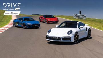 Drive Car of the Year Best Super Sports Car 2021 finalists (L-R): Audi R8 Performance, Ferrari F8 Tributo and Porsche 911 Turbo S