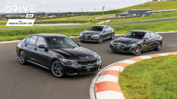 Drive Car of the Year 2021 Best Medium Luxury Car finalists group photo