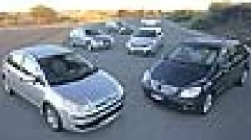 """Economics of scale""""¦(clockwise from bottom left) Citroen C4 HDI, Audi A3 TDI, Volkswagen Golf TDI, BMW 120d, Holden Astra CDTi and Mercedes-Benz B180 CDI. Picture: Mark Bean"""