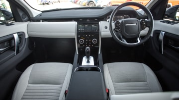Drive Car of the Year Best Medium Luxury SUV 2021 finalist Land Rover Discovery Sport front interior seating