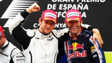 Jenson Button (L) of Great Britain and Brawn GP and Mark Webber (R) of Australia and Red Bull Racing celebrate on the podium following the Spanish Formula One Grand Prix at the Circuit de Catalunya, Spain. Image: Getty images
