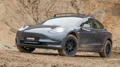 Tesla Model 3 electric car transformed into off-roader