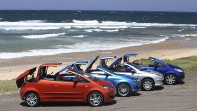 Drop top tiddlers: Peugeot 206CC v Holden Tigra v Mitsubishi Colt Cabrio v Mitsubishi Colt Cabrio Turbo