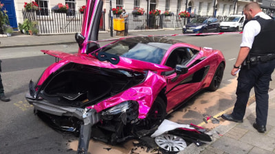 Pink McLaren 570S crashes in central London