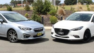 Subaru Impreza 2.0i-L v Mazda3 SP25 comparison review