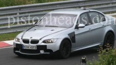BMW E92 M3 sedan snapped testing at the Nurburgring