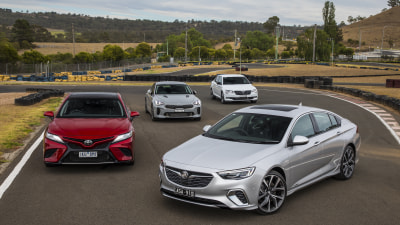 Holden Commodore VXR v Toyota Camry V6 SX v Kia Stinger 330Si v Skoda Superb 206TSI Sportline new car comparison review