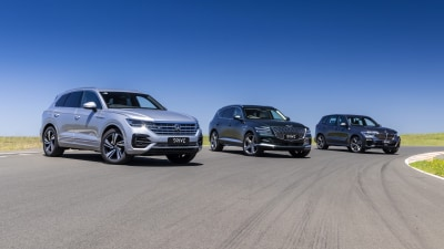 Drive Car of the Year Best Large Luxury SUV finalists group photo.