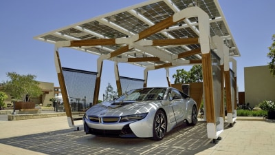 BMW Showcases Solar-Charging Carport Concept With New i8 Coupe