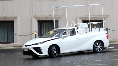 Toyota Mirai hydrogen Popemobile gifted to the Vatican